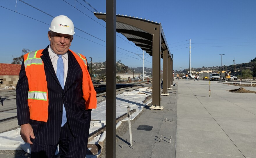 SANDAG Executive Director Hasan Ikhrata stands in front of the future Balboa Avenue station on the Mid-Coast Trolley, March 5, 2021