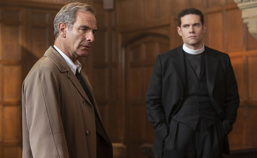 Shown from left to right: Robson Green as Geordie Keating and Tom Brittney as Will Davenport.
