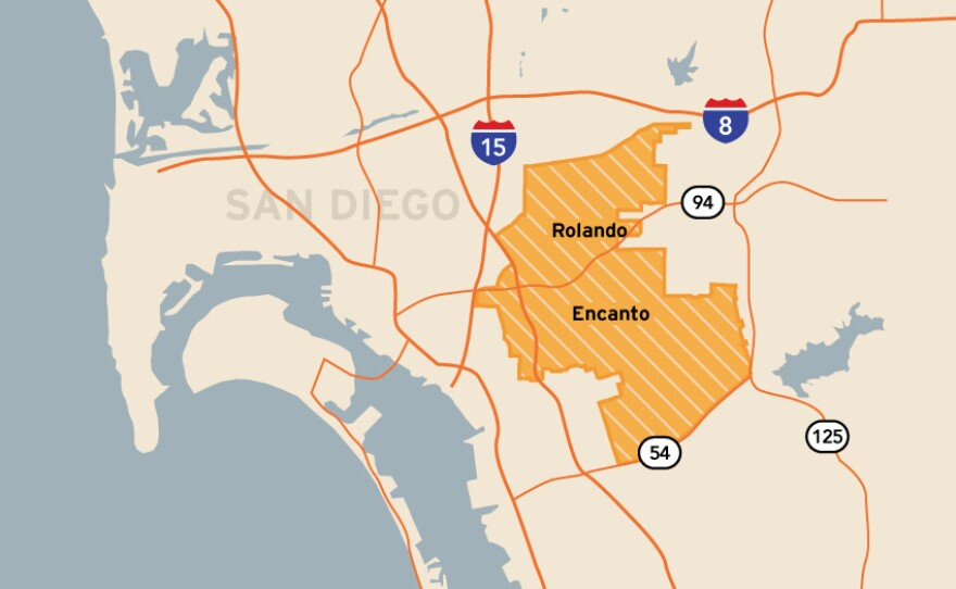 This map shows the boundaries of San Diego Unified School District's District E, which includes the neighborhoods of Encanto, Oak Park, Paradise Hills, Rolando, Valencia Park and Webster.