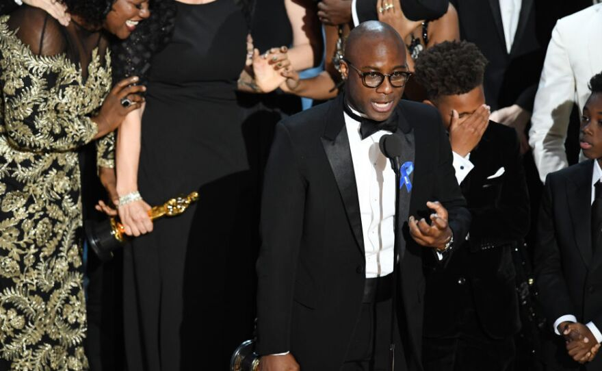Barry Jenkins accepts the Academy Award for best picture for Moonlight.