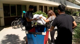 Justin Leung and his parents Wing and Monette moving into the dorms at UC San Diego in La Jolla, CA September 21, 2021