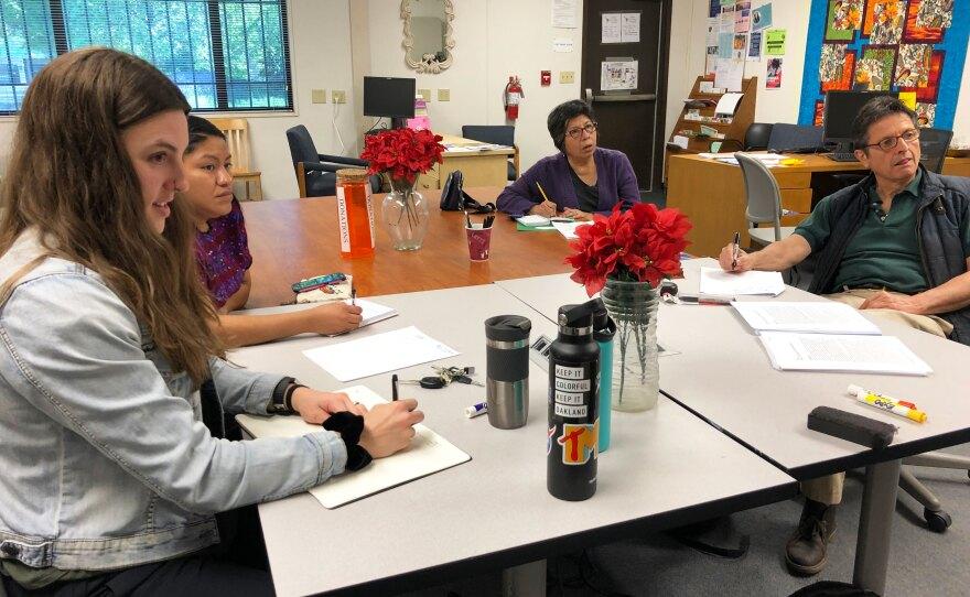Tessa Scott (left), Gladiola Aguilar, Mirtha Ninayahuar and Arturo Davila take a Mam class in Oakland, April 13, 2019.