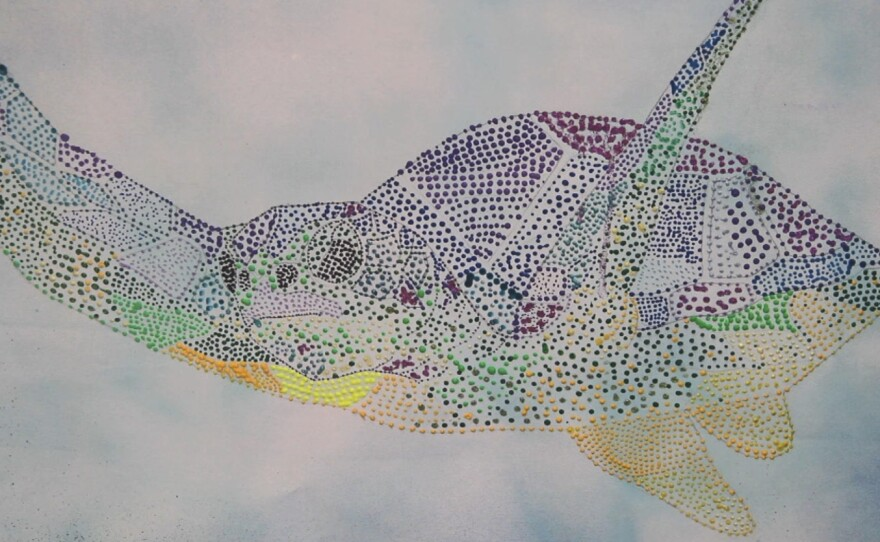 Sea turtle in a mural painted by students at Del Mar Pines elementary school students, Jan 2014 .