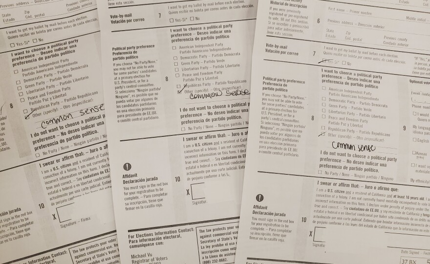 Voter registration forms marked with Common Sense under political party preference, Jan. 31, 2020.