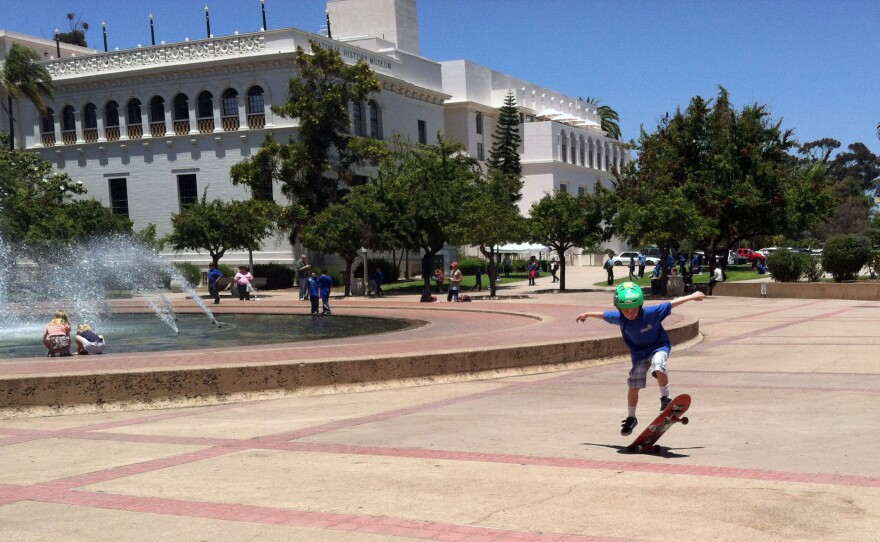 Mason Leigh skateboards in front of a fountain at Balboa Park, June 2013.