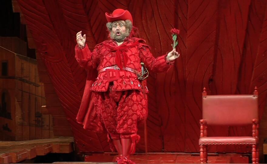 "Sir John Falstaff (Italian Baritone Roberto de Candia) prepares to woo some ladies in San Diego Opera's production of Verdi's ""Falstaff."""