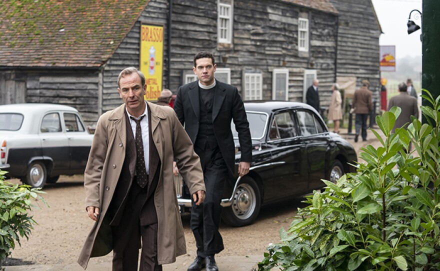 Tom Brittney as Will Davenport and Robson Green as Geordie Keating on GRANTCHESTER Season 5 On MASTERPIECE.
