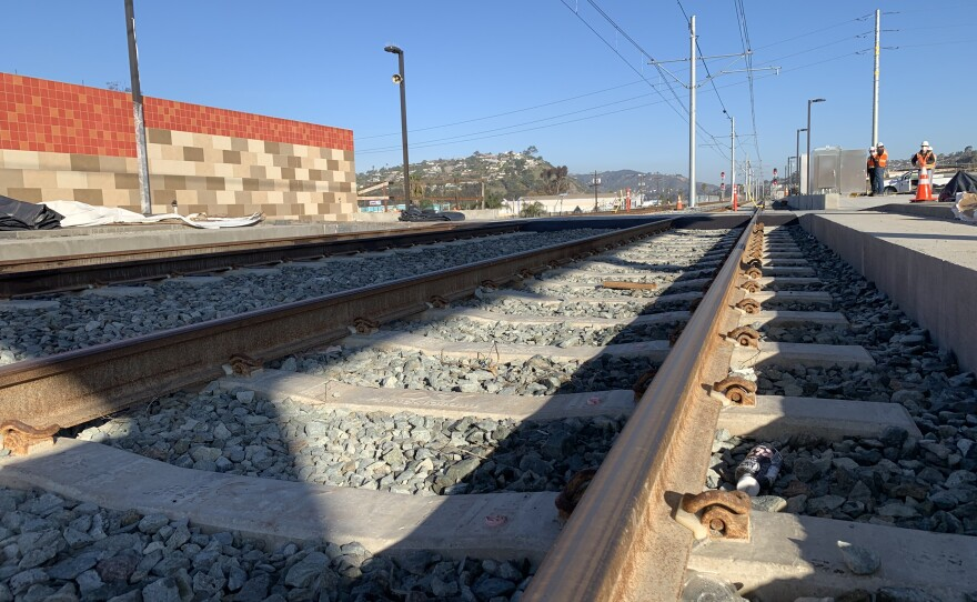 The tracks of the future Mid-Coast Trolley extension are seen here, March 5, 2021.