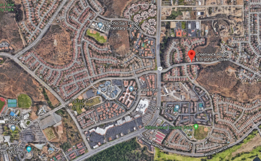 A map shows the location where a brush fire scorched 10 acres in Rancho, San Diego, May 3, 2018.