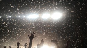 Confetti falls on fans at a concert at the Observatory North Park on April 19, 2018.