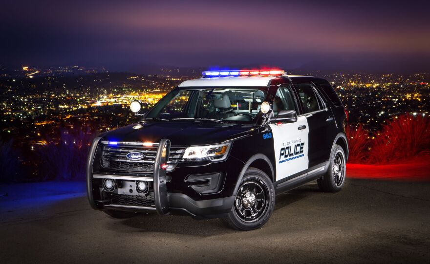 An undated photo of a parked Escondido police cruiser.
