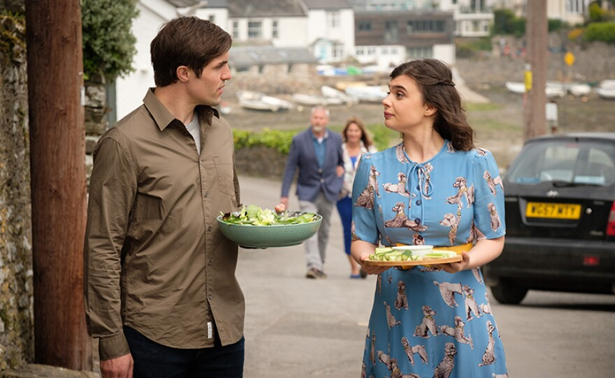 Phil Dunster as Jamie Cole and Gwyneth Keyworth as Becka Cole in THE TROUBLE WITH MAGGIE COLE.