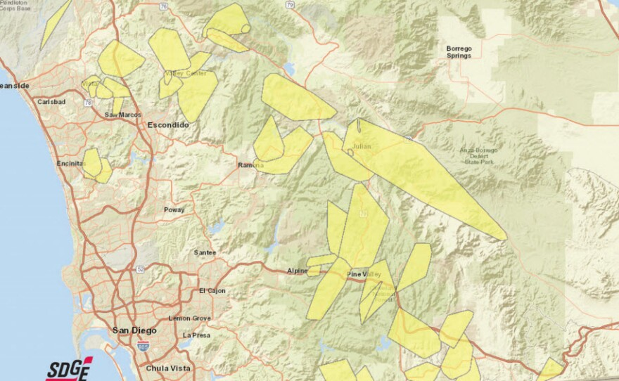 This undated image shows a map of communities in San Diego County that are affected by potential SDG&E outages.