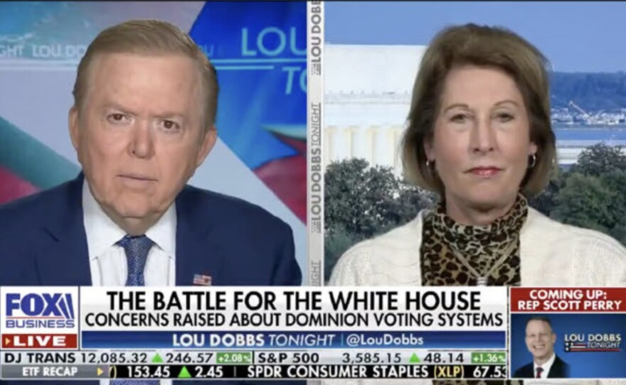 """A new lawsuit from Dominion Voting Systems highlights election claims that Trump attorney Sidney Powell made on Lou Dobbs' Fox Business program. The suit includes a photo of one appearance that bore the on-screen headline, """"The Battle for the White House: Concerns Raised about Dominion Voting Systems."""""""
