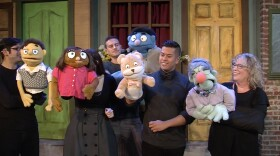 """Pictured are Princeton (Edgar Diaz-Gutierrez), Kate Monster (Catie Marron), Nicky (Joel Miller), Bad Ideas Bear (Boy) (Patrick Mayuyu), and Lavinia Thistletwat (Dianne Gray) who make up part of the cast of Coronado Playhouse's """"Avenue Q."""""""
