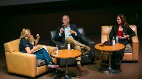 Robert Hickey, middle, and Mara Elliott, right, speak at Politifest at San Diego State University, Sept. 24, 2016.