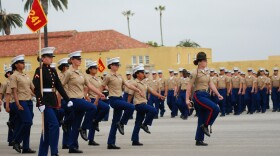The women of Platoon 3241 march as a unit one last time during graduation at Marine Corps Recruit Depot, San Diego, May 6, 2021.