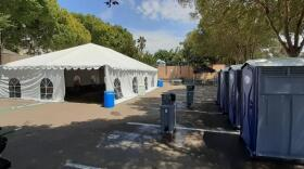 Father Joe's Villages' temporary structure to isolate shelter residents who test positive for COVID-19 within a gated lot on its East Village campus on August 27, 2021.