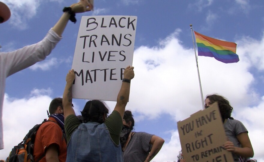 Protesters held a rally against racial injustice and police use of force at the Pride Flag in Hillcrest on June 6, 2020, following a march from downtown San Diego.