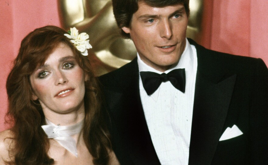 Actress Margot Kidder is seen here with her Superman co-star Christopher Reeve.