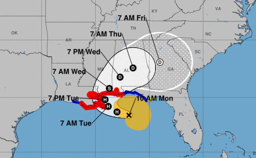 Sally is forecast to make landfall on the Gulf Coast Tuesday, possibly in the area east of Gulfport, Miss.