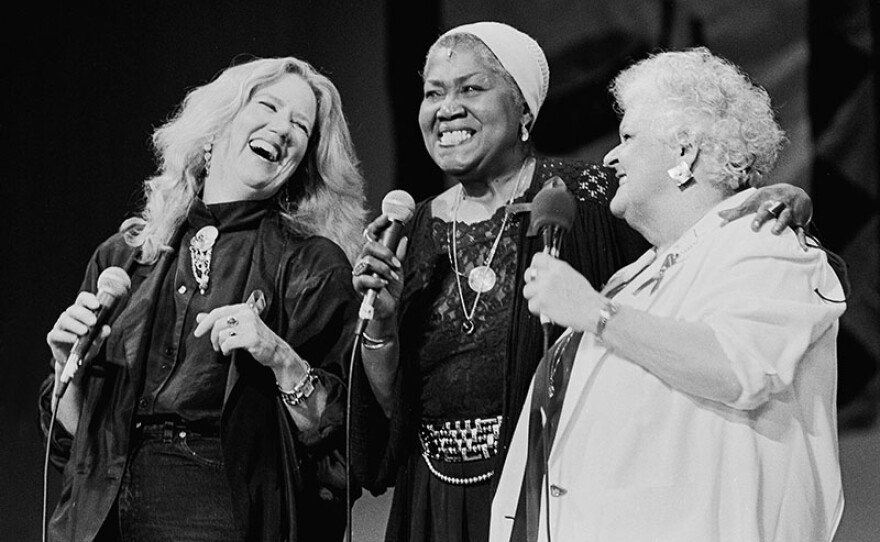 Holly Near, Odetta and Ronnie Gilbert onstage Redwood Records Music Festival 1992.