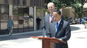 City Council President Todd Gloria and Councilman Kevin Faulconer speak at a press conference about sexual harassment allegations against Mayor Bob Filner, July 22, 2013.