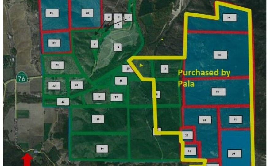 A map of the Gregory Canyon site shows the area purchased by the Pala Band for $13 million, Nov. 18, 2016.