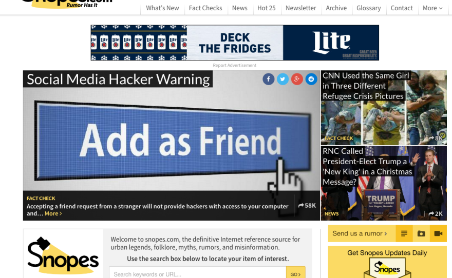 The homepage of Snopes.com is pictured, Dec. 28, 2016.
