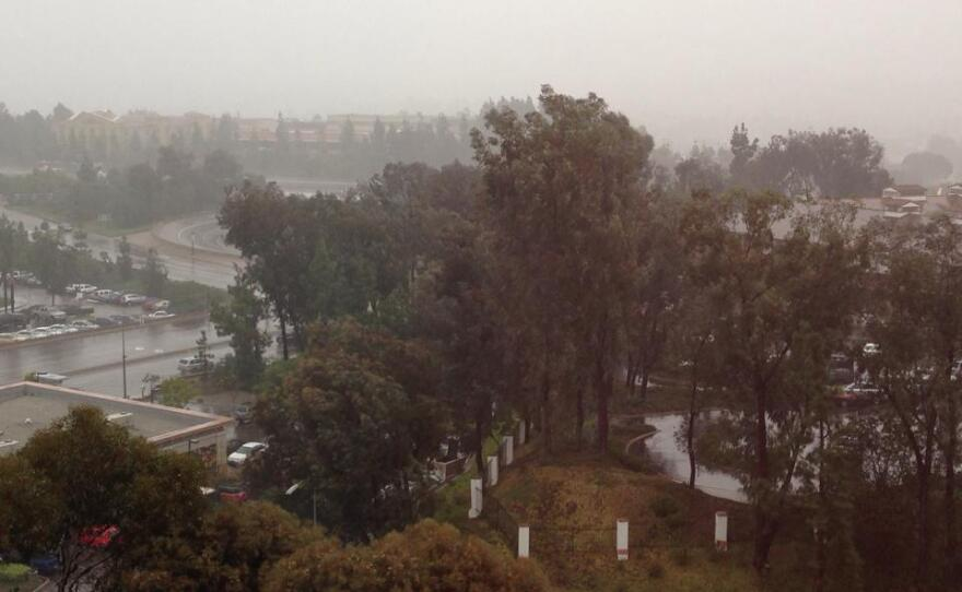 The rainy day view from the National Weather Service location in San Diego, Feb. 28, 2014.