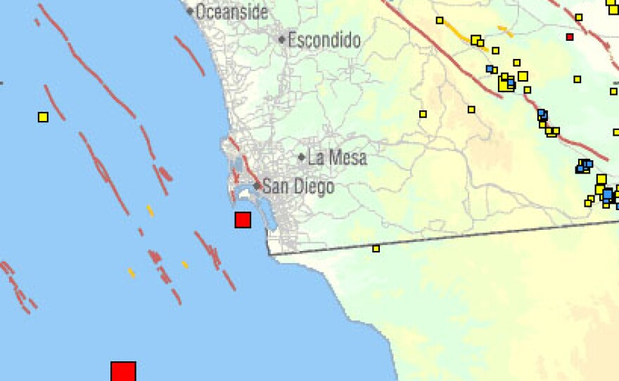 This map from USGS shows the location and size of two moderate earthquakes that struck offshore from San Diego and Rosarito Beach, Baja California on Tuesday, May 25, 2010.
