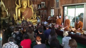 Students in Delta Beta Tau, the Buddhist fraternity and sorority at San Diego State University, go on a retreat at the Metta Forest Monastery in Valley Center.