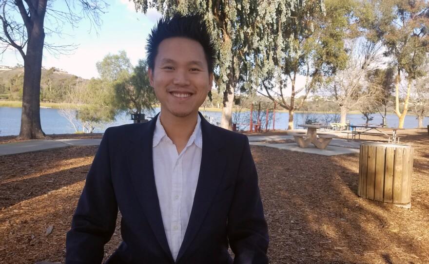San Diego City Council District 5 candidate Isaac Wang speaks at Lake Miramar, Dec. 9, 2019.