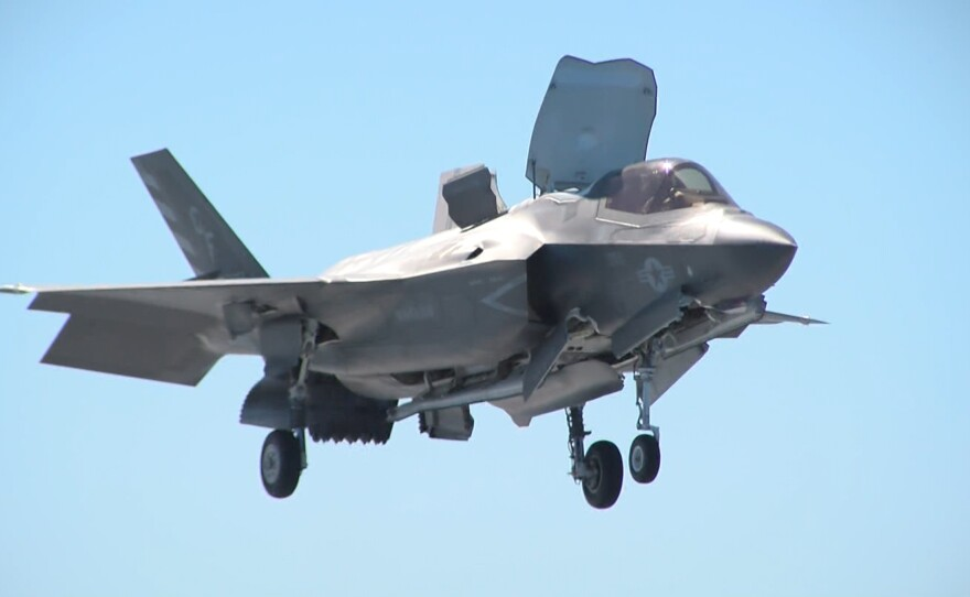 A Marine version of the F-35 Joint Strike Fighter hovers over the deck of the USS Essex, Oct. 23, 2017.