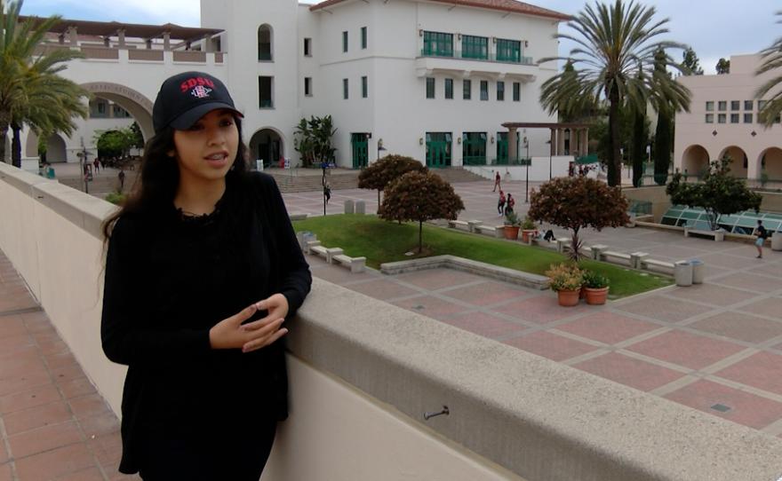 Esmeralda Quintero, a San Diego State University freshman, discusses the SDSU Aztec mascot, April 11, 2016.