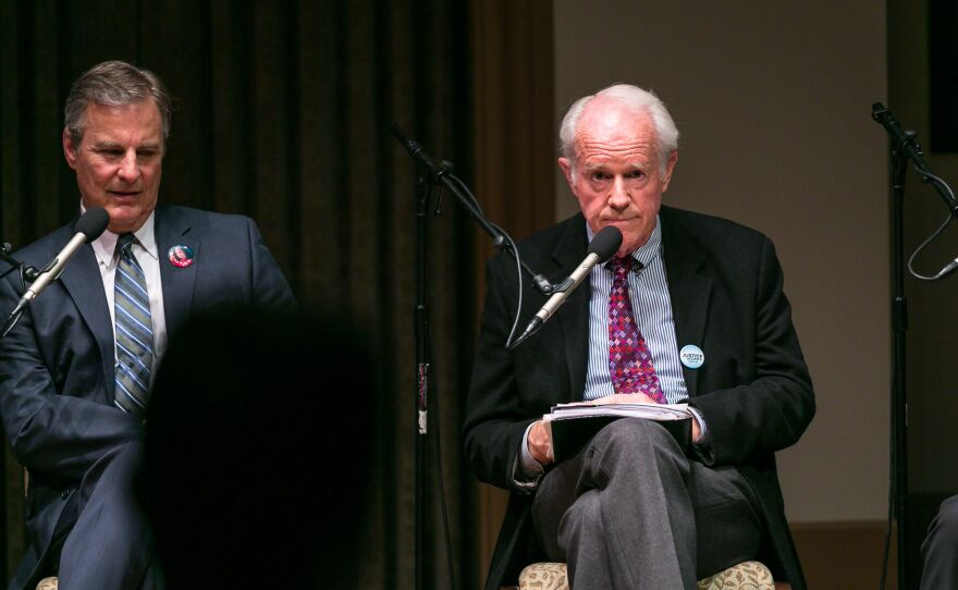 Mike Farrell, right, sits at a panel during a death penalty town hall at the University of San Diego, Sept. 8, 2016.