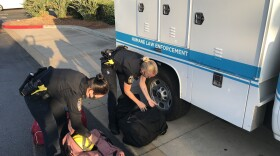San Diego Humane Society Officers Joy Ollinger and Sandra Anderson prepare to leave for Northern California on August 26, 2021.
