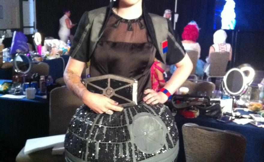 This Death Star cocktail dress was one of the entries in this year's Her Universe Fashion Show. Sadly, it did not win. July 9, 2015.