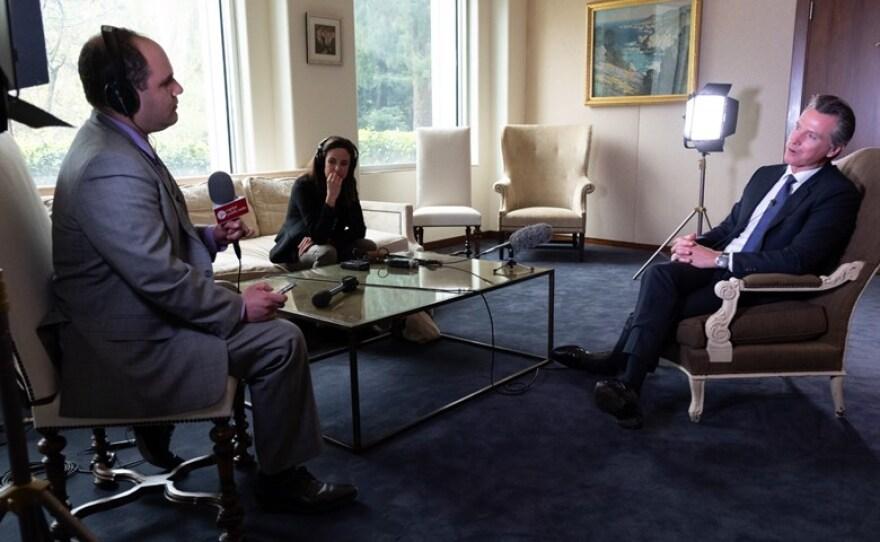 CapRadio Capitol Bureau Chief Ben Adler interviews California Gov. Gavin Newsom about his first 100 days in office in this undated photo.