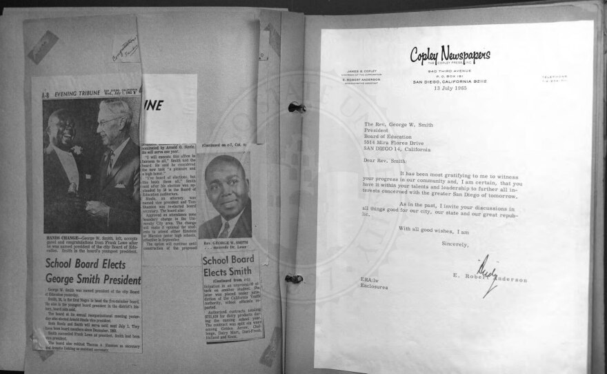 A scrapbook with newspaper clippings from when George Walker Smith being elected as Board of Education president in this undated photo from San Diego State University oral history project.