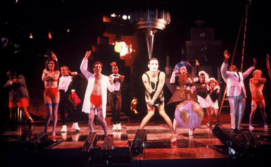 """Sean Murray (center) as Dr. Frank-N-Furter in the 1991 San Diego Repertory Theatre production of """"The Rocky Horror Show."""""""