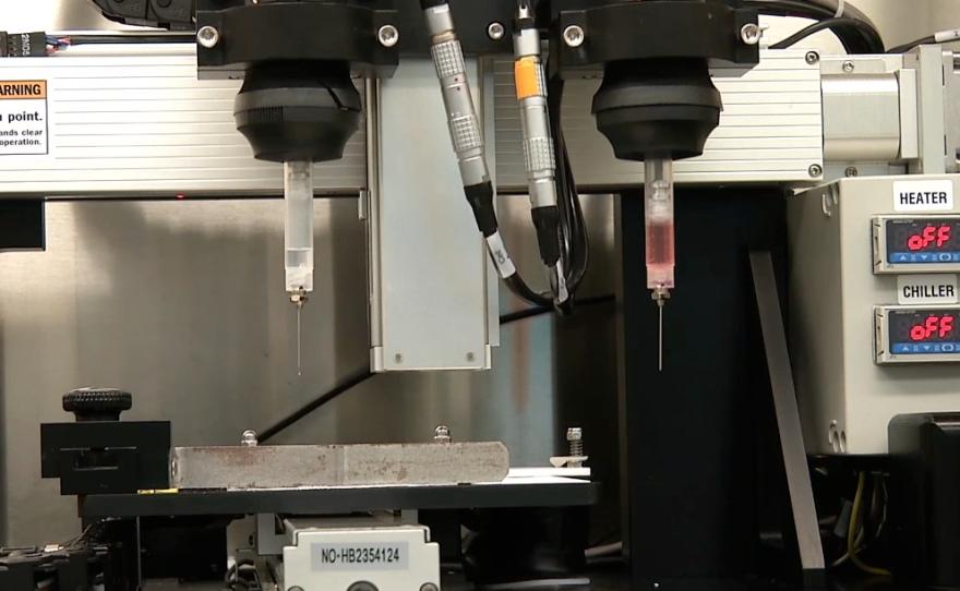 This undated photo shows Organovo's 3-D printing machine.