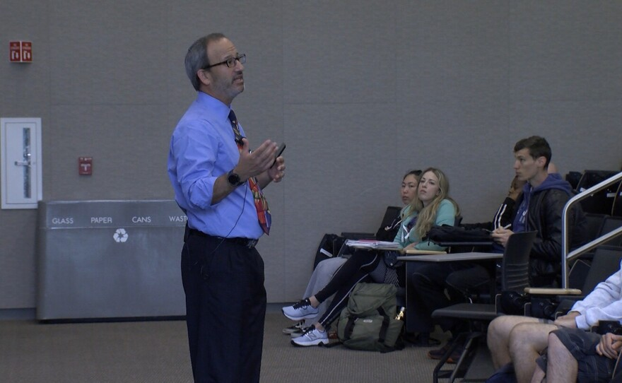 SDSU Religious Studies lecturer Rabbi Scott Meltzer giving an open lecture addressing the shooting at a synagogue in Poway, April 29, 2019.