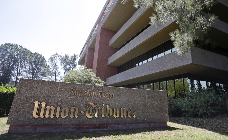 This file photo from Sept. 23, 2014, shows the Mission Valley building that houses The San Diego Union-Tribune.