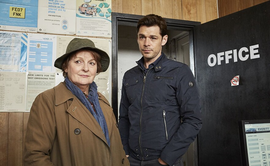 DCI Vera Stanhope (Brenda Blethyn) and Detective Sergeant Aiden Healy (Kenny Doughty) in a scene from the acclaimed detective drama, VERA.