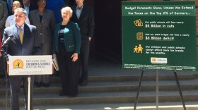 The campaign for a voter initiative that would extend the income tax increases on the rich holds a news conference at California Middle School in Sacramento, May 11, 2016.