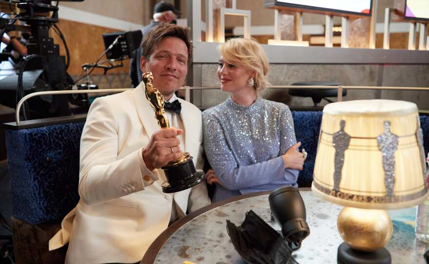 On behalf of Denmark, Thomas Vinterberg poses with the Oscar® for International Feature Film during the live ABC Telecast of The 93rd Oscars® at Union Station in Los Angeles, CA on Sunday, April 25, 2021.