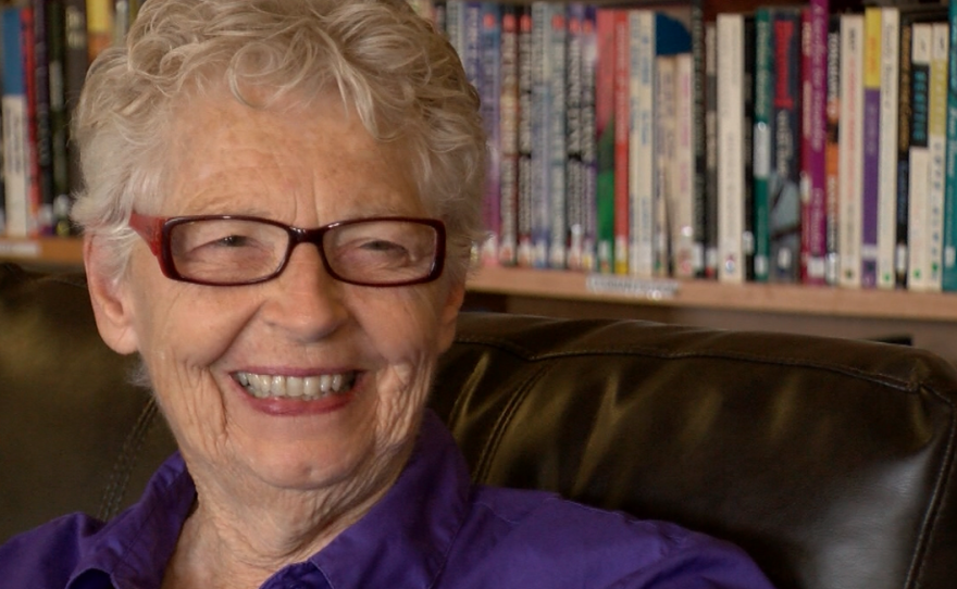 Betty Owen smiles while speaking in the library at the San Diego LGBT Community Center, June 22, 2016.
