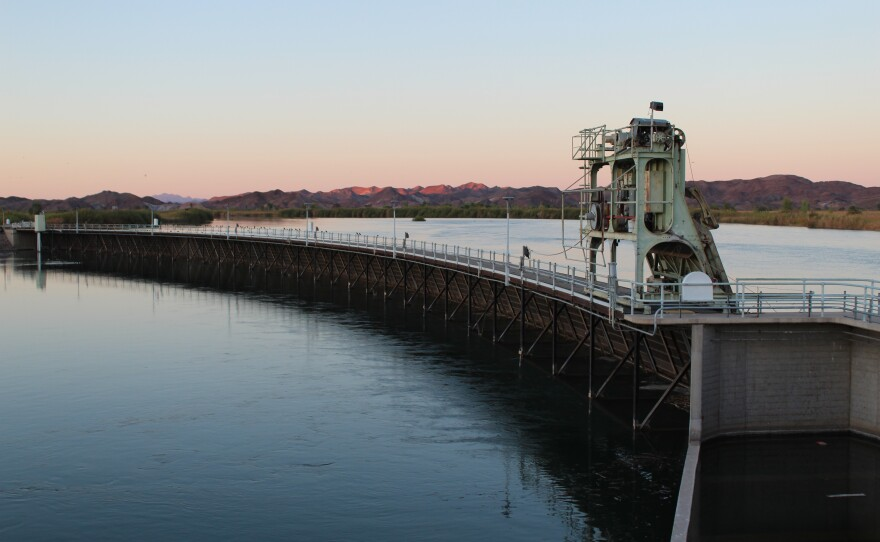 The Imperial Dam near Yuma, Arizona, sends the Colorado River into California's Imperial Valley for irrigation of hundreds of thousands of acres of winter vegetables, citrus and alfalfa hay, Feb. 20, 2018.