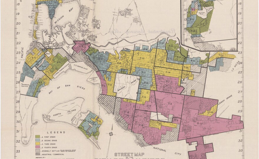 """A 1936 map of San Diego from the Home Owners' Loan Corporation, marking which neighborhoods it believed were at highest risk of mortgage default. Those determinations were heavily influenced by a neighborhoods' racial demographics and led to the term """"redlining."""""""